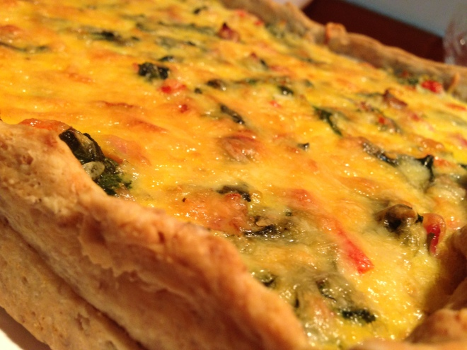 Shallot, Spinach Tart with Walnut Pastry
